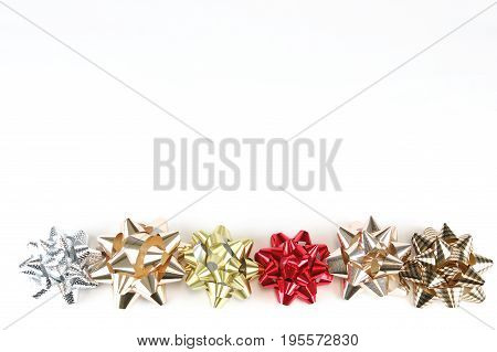 colorful bows isolated on white background for design
