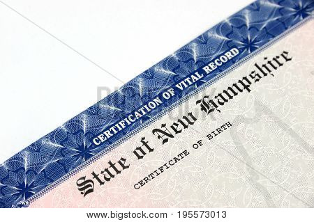 close up on birth certificate of New Hampshire state