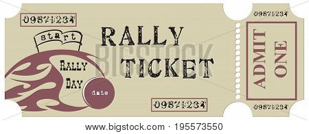 Vintage ticket for the rally. The ticket is made in the old style
