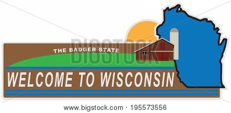 Banner welcome to Wisconsin with elements and state map.
