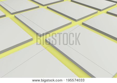 Stacks Of White Flyers On Yellow Background