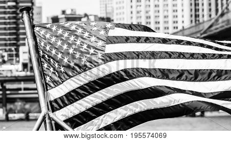 US Flag waving in the wind- MANHATTAN - NEW YORK