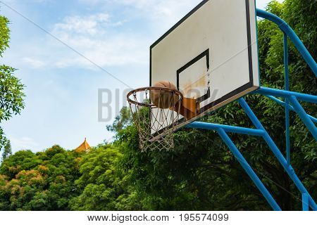 a basketball goes into the hoop horizontal composition