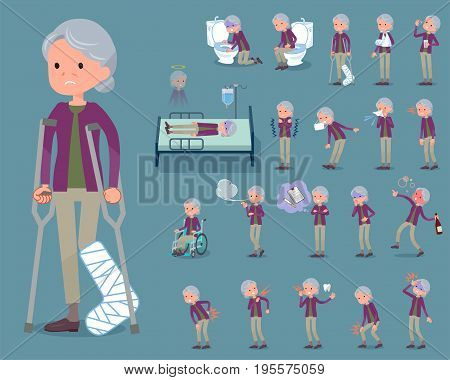 Flat Type Purple Clothes Grandmother_sickness