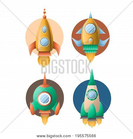 Rocket spaceships or spacecraft shuttle on start up with burning flame from engine and cosmonaut porthole window. Vector isolated flat cartoon icons set of space ships or satellites launch