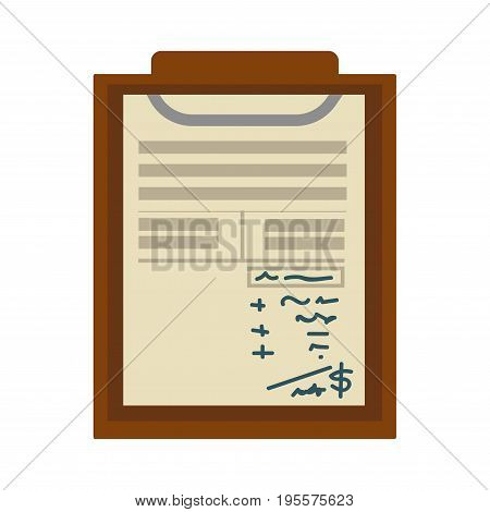 Check list or notepad paper sheet with notes and marks. Vector flat icon of medical notebook or office stationery business organizer pad