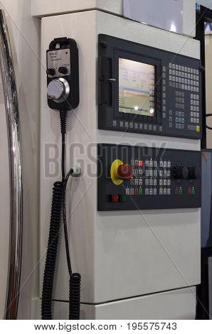 Control panel of cnc machining center. Selective focus