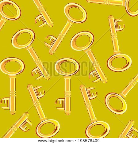 Much golden keys from lock on light background