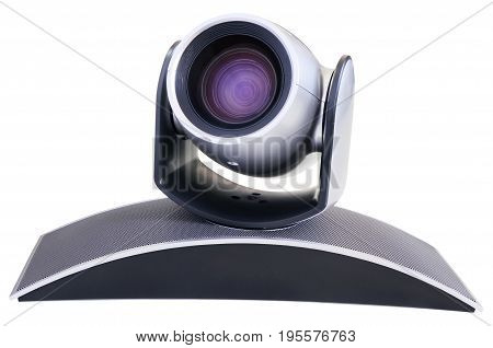 Supervision video camera side isometric view isolated on the white backgtound