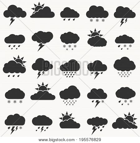 Set of weather icon black color on white background. Cloud sky vector illustration collection for web art and app design. Different cloudscape weather symbols.
