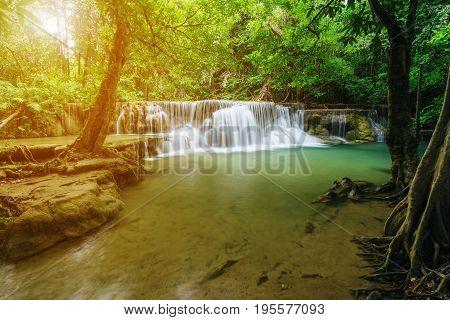 Huay Mae Kamin Waterfall In Khuean Srinagarindra National Park, Kanchanaburi, Thailand