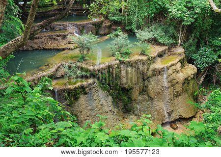 Level 4 Of Huay Mae Kamin Waterfall Dry Out In Summer, Kanchanaburi, Thailand