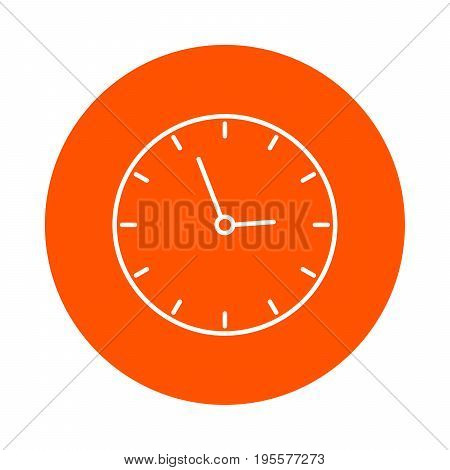 School wall clock vector round linear icon simple color change flat style