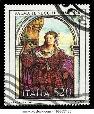ITALIA - CIRCA 1980: A stamp printed in Italia shows polyptych of St Barbara by Negretti Jacopo known as Palma the Elder in church Santa Maria Formosa, Venice, circa 1980