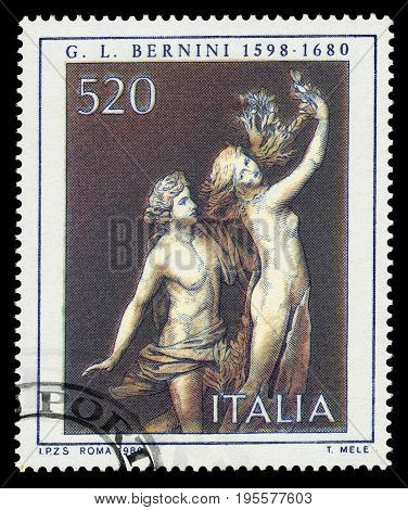 ITALIA - CIRCA 1980: A stamp printed in Italia shows Apollo and Daphne, marble sculpture by italian artist Gian Lorenzo Bernini, circa 1980