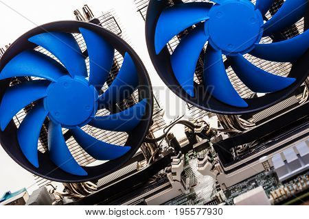 Electronic equipment computer processor blue fans close-up