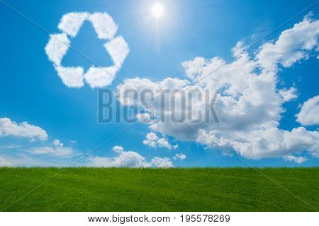 Recycling symbol made from clouds