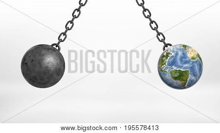 A wrecking ball and an Earth globe swinging together on iron chains away from each other. Save our planet. Ecological dangers. Nature and people.