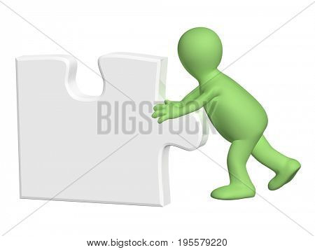 3d man pushing part of puzzle of grey color. Isolated on white background. 3d render