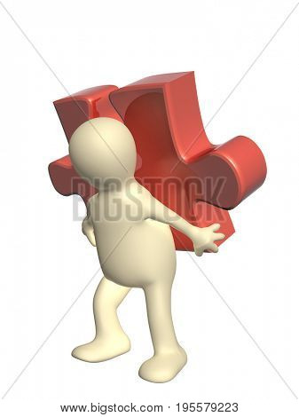 3d man with part of puzzle of red color. Isolated on white background. 3d render