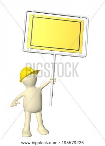 3d man-builder with emergency billboard. Isolated on white background. 3d render
