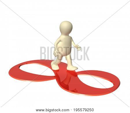 3d man, going on a sign infinity of red color. Isolated on white background. 3d render