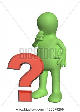 3d puppet with question mark. Isolated on white background. 3d render