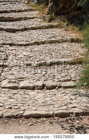 Close-up of the staircase to the Notre-Dame de Beauvoir church, above the graceful Moustiers-Sainte-Marie village. Alpes-de-Haute-Provence department, Provence region, southeastern France