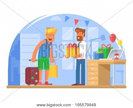 Tourist come back from vacation to work concept illustration. Manager meet employee returning from holidays. Boss congratulate office worker with happy birthday giving gift box.