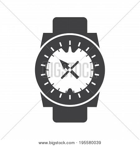 Underwater diving watch vector outline icon. Scuba clockworks compass silhouette isolated on white background.