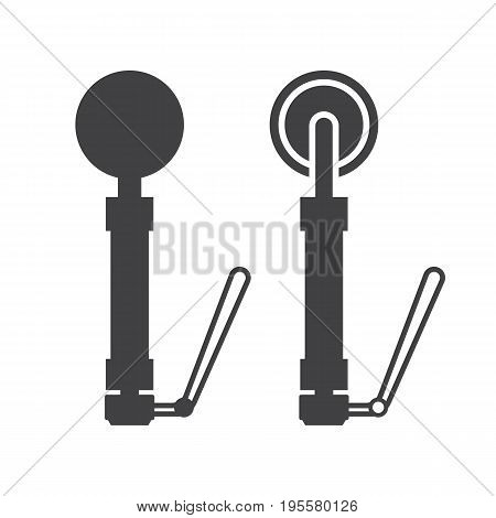 Scuba diving portable metal detector vector outline icon. Finding device silhouette isolated on white background.