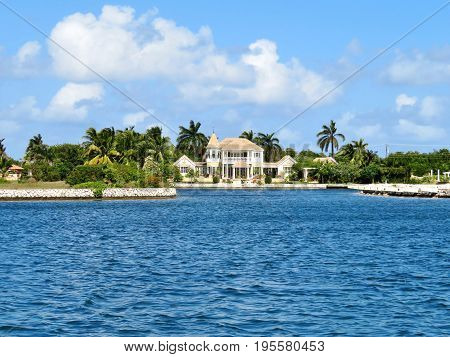 Luxury home on a canal waterway on the tropical island of Grand Cayman