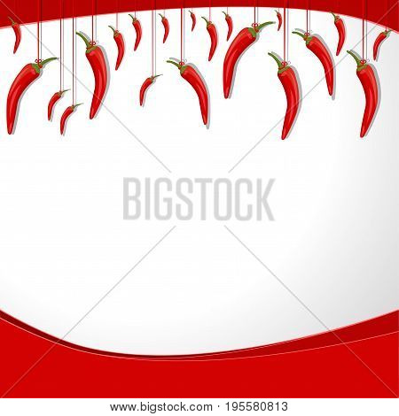 Red hot chili peppers on a string hang. Vector background