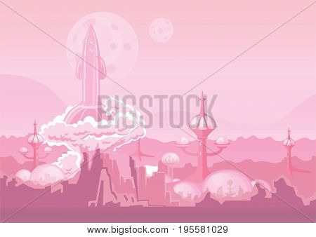 City of the future on another planet and rocket blasting off. Space colony, human settlement on Mars. Vector illustration with copy space.