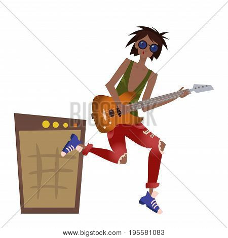 A young black man playing the guitar. Rock musician. Vector illustration, isolated on white background.
