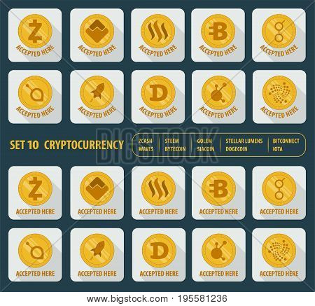 set icon flat of ten different cryptocurrency on a white background