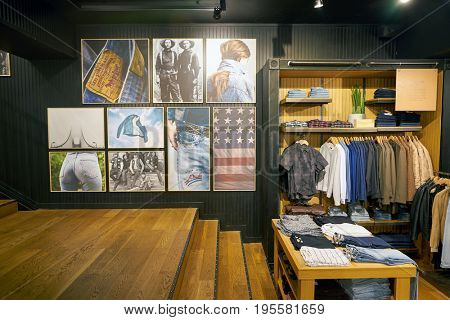 SEOUL, SOUTH KOREA - CIRCA MAY, 2017: inside a Levi's store in Seoul. Levi Strauss & Co. is a privately owned American clothing company known worldwide for its Levi's brand of denim jeans.
