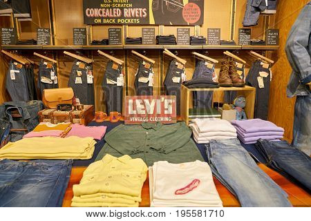SEOUL, SOUTH KOREA - CIRCA MAY, 2017: clothing on display at a Levi's store in Seoul.