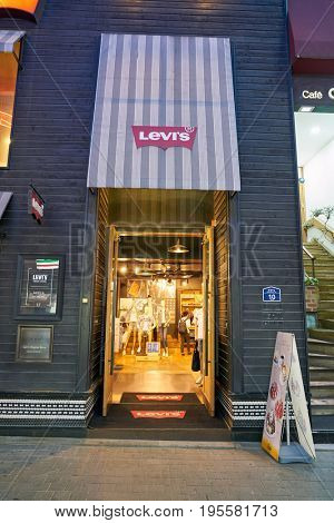 SEOUL, SOUTH KOREA - CIRCA MAY, 2017: a Levi's storefront in Seoul. Levi Strauss & Co. is a privately owned American clothing company known worldwide for its Levi's brand of denim jeans.