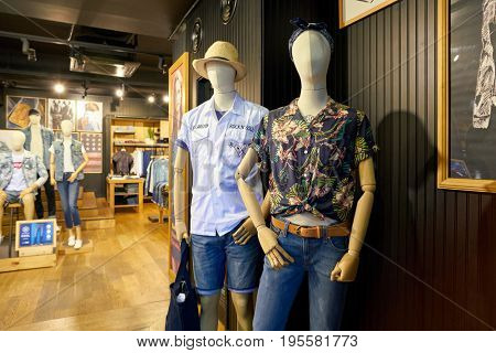 SEOUL, SOUTH KOREA - CIRCA MAY, 2017: mannequins at a Levi's store in Seoul. Levi Strauss & Co. is a privately owned American clothing company known worldwide for its Levi's brand of denim jeans.