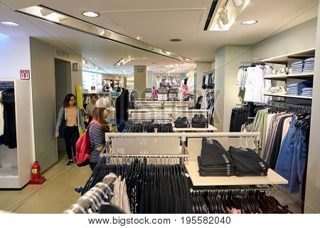 SEOUL, SOUTH KOREA - CIRCA MAY, 2017: inside H and M store in Seoul. H & M Hennes & Mauritz AB is a Swedish multinational clothing-retail company