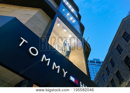 SEOUL, SOUTH KOREA - CIRCA MAY, 2017: a Tommy Hilfiger storefront in Seoul.