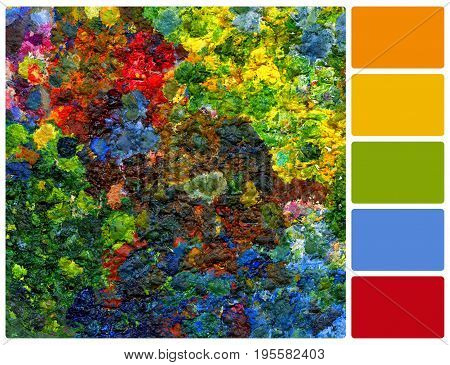 Background image of bright oil-paint palette. Colour palette with complimentary colour swatches