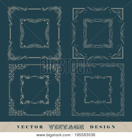 Abstract frames, borders. Set of vintage vector calligraphic retro frames