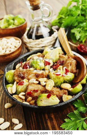 Stewed Pork With Brussels Sprouts