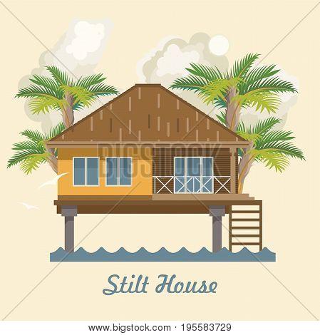 Stilt house. Ocean resort. Vector illustration. Flat style