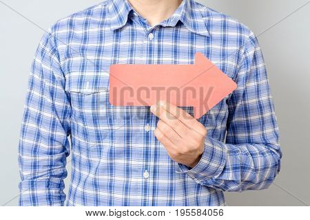 Man With Red Arrow Pointing To The Right