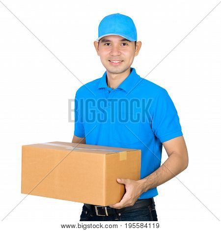 Deliveryman carrying a cardboard parcel box isolated on white background