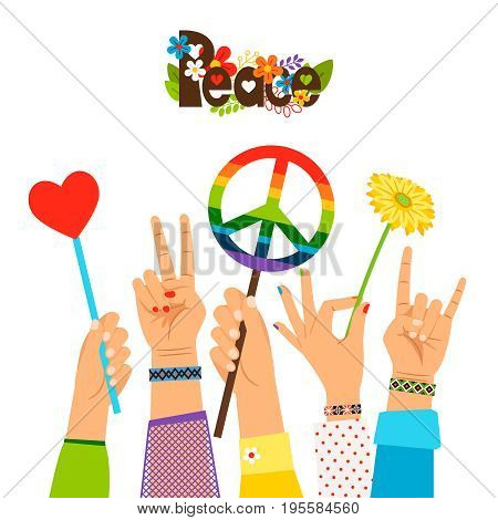 Peace signs in hands colored vector illustration. Rainbow hippie peaceful symbols and gestures isolated on white background