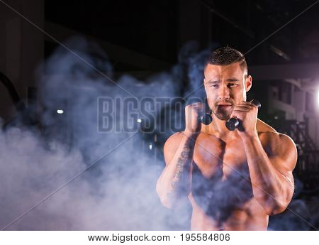 Powerful man doing boxing exercises, making direct hit with dumbbells. Sporty muscular male in gym. Strength and motivation concept.